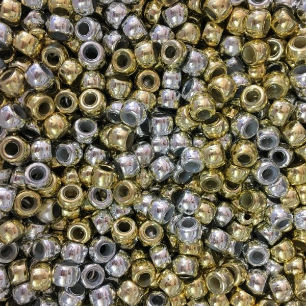 gold and silver metallic mix 9x6mm pony beads dummy clips pram charms